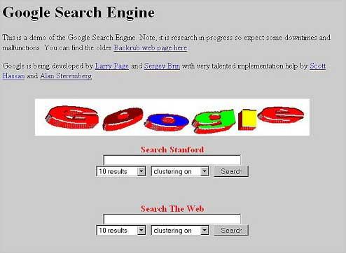 Screenshot of the early Internet, showing Google's landing page.